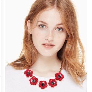 NIB Kate Spade precious poppies floral necklace